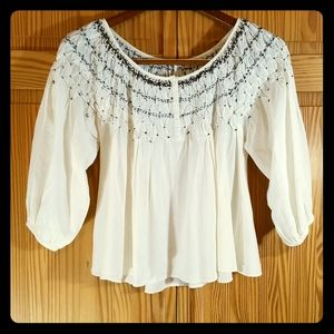 Free People 3/4 Sleeve Fancy Pleated Flowy Top